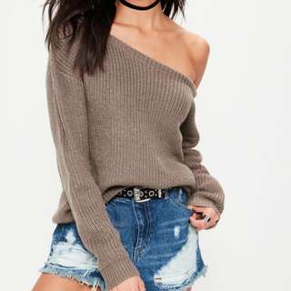 missguided off-the-shoulder knitted jumper