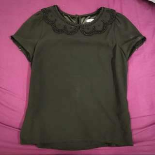 Review black beaded blouse