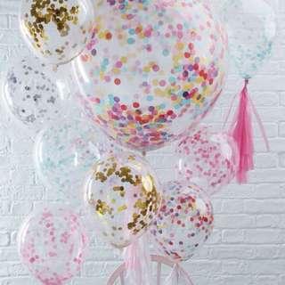 Latex balloon with confetti