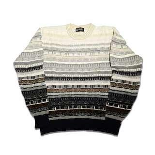 🚚 Fresh Loots / 日本古著 Vintage 米色漸層 針織條紋毛衣
