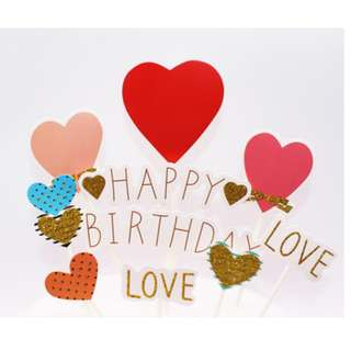 Love Shape of  Cake Topper for Birthday Party Cake Decoration