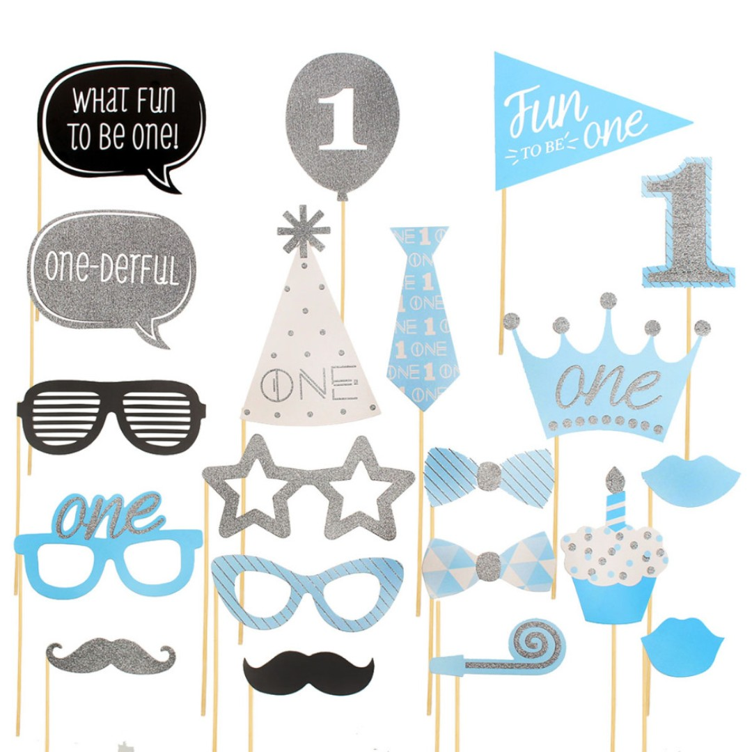 1st Birthday Photo Booth Props