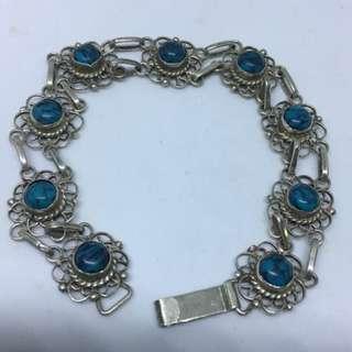 "Antique Vintage 1940's Azurite sterling silver bracelet 9.5 grams size 7"""