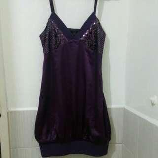 Purple Hearts Purple Mini Dress with Sequins