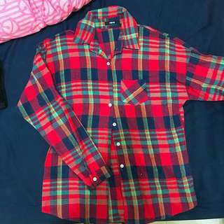 🚚 紅格紋襯衫