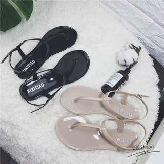 歐美时尚簡約夾腳涼鞋女夏天T字型平底凉鞋果凍鞋沙攤鞋