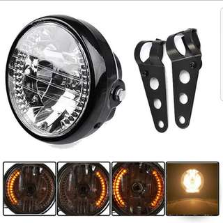 7 Inch Motorcycle Headlights With Led Turn Signal, Fits Harley Sportster Iron 883 1200 XL 883N Bobber
