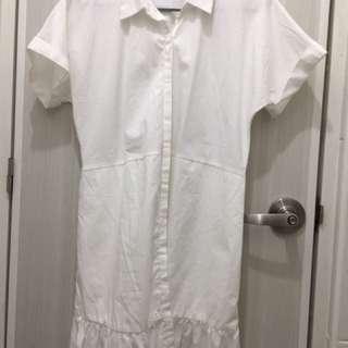 White formal shirt dress