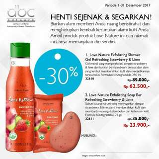 Love nature shower gel & soap bar refreshing strawberry & Lime  (oriflame)