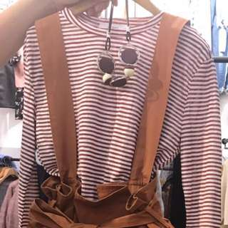 🚚 粉橘條紋吊帶裙