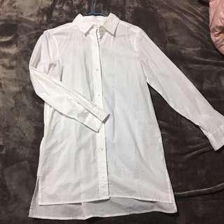 NET長版白襯衫