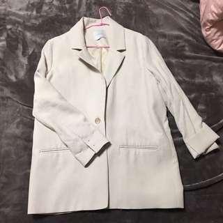 正韓Cherrykoko米色長版西裝外套(歡迎殺價)