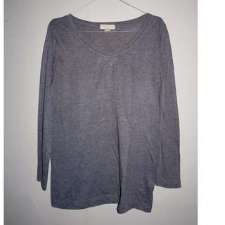 A023 FOREVER 21 BASIC TOP DUSTY GREY SIZE EU S