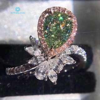 18K 白金 GIA 綠黃鑽 足反鑽石戒指