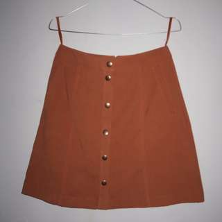 A028 F&F A LINE SUEDE BUTTONED UP BROWN SKIRT SIZE EU 34