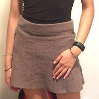 Woollen Taupe Mini Skirt