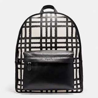 Coach Charles Backpack with Wild Plaid Print