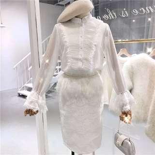 透視top +高腰裙兩件套