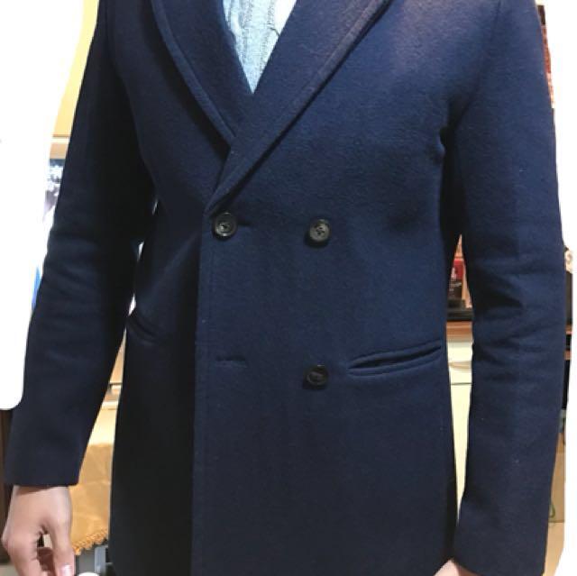 免運)60%羊毛 雙排扣男大衣