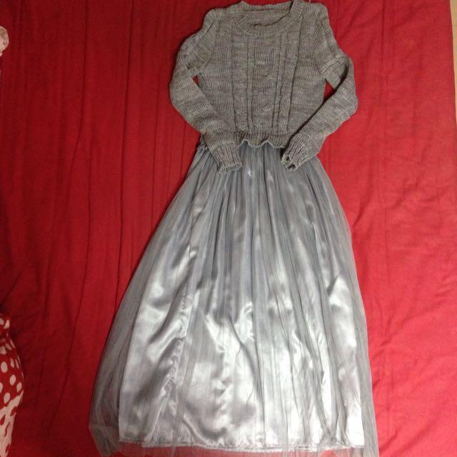 針織連身紗裙