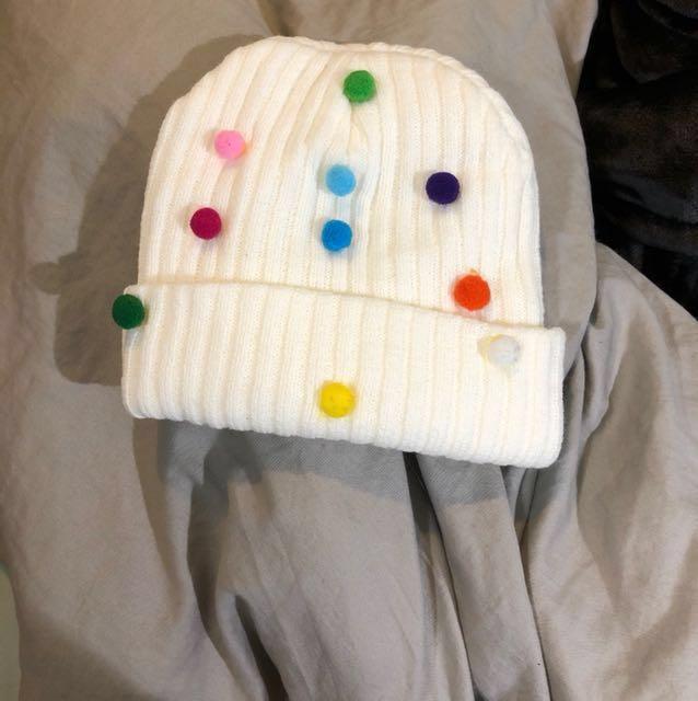 可愛彩球毛帽