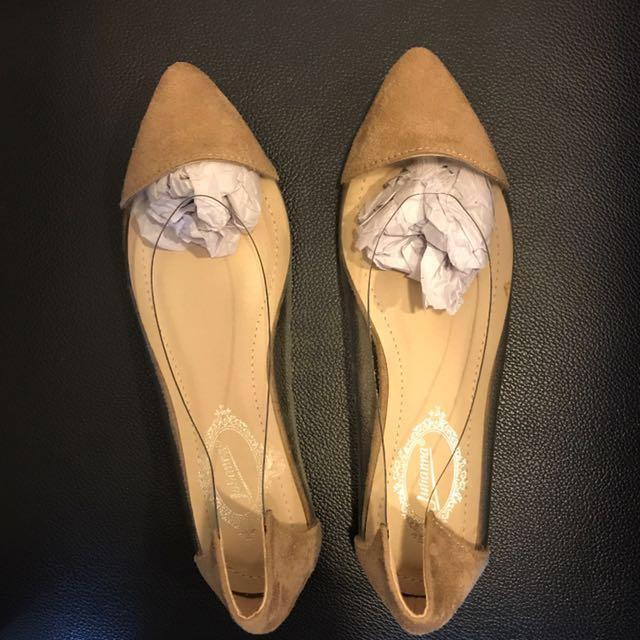 性感杏色透明拼接絨面平底鞋