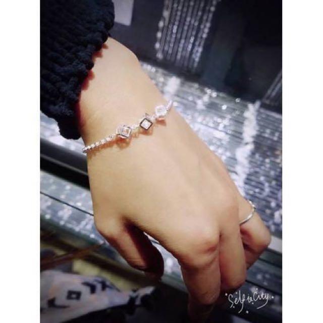 【香港-正生純銀簡約方塊手鍊-(附盒)】  現貨1
