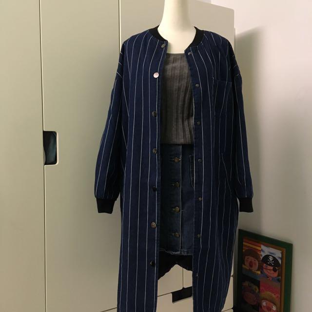 [二手] 淘氣感直紋厚質長版外套