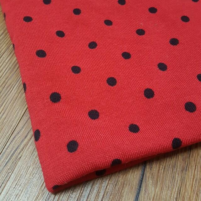一碼 紅色黑點棉質布料