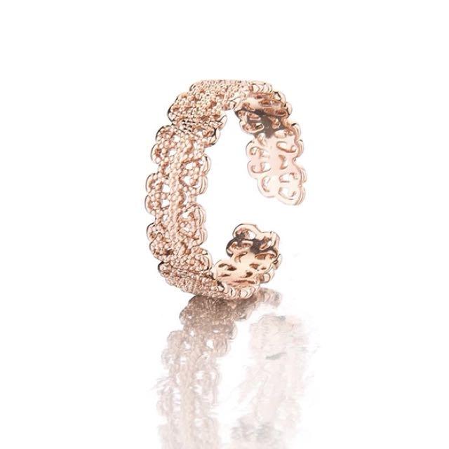 蕾絲 氣質 百搭 鏤空 開口 戒指 飾品