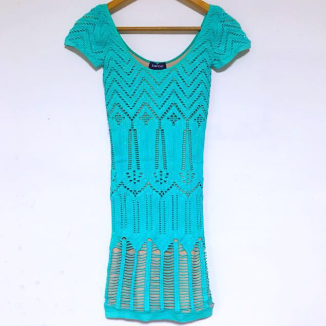 (全新正品)美國製造 Bebe 土耳其藍繃帶露肩連身洋裝