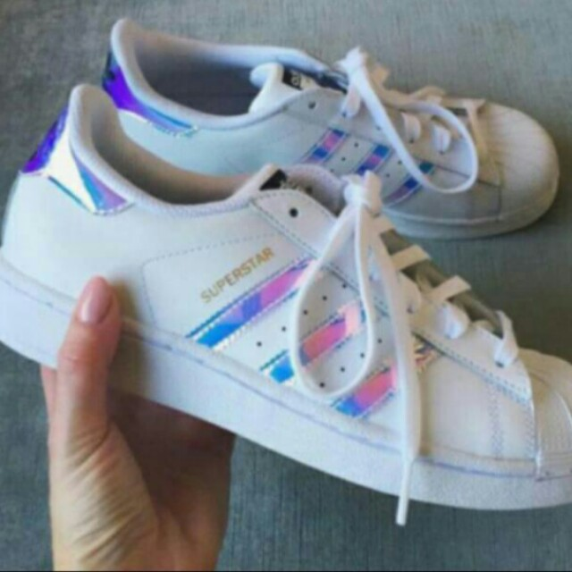 Adidas Superstar Holographic Iridescent Shoes, Womens Fashion, Shoes on  Carousell