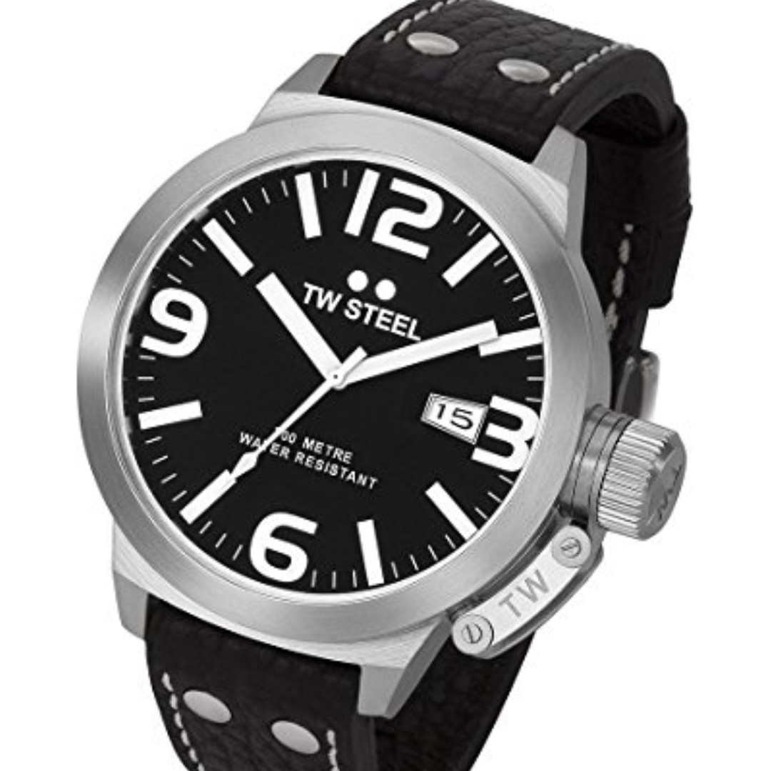 ⌚Authentic TW Steel Men's TW22N Canteen Black Leather Black Dial Watch  ⌚