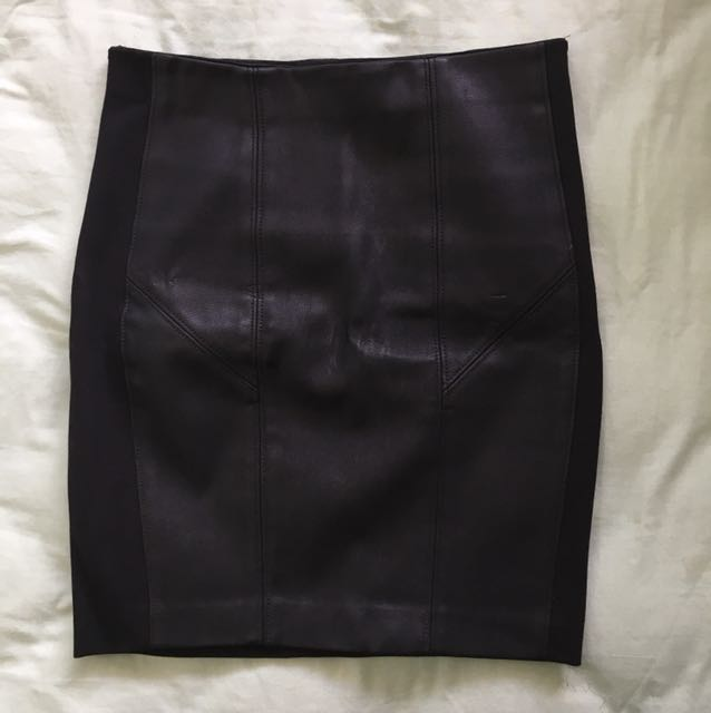 Bardot black leather bodycon skirt