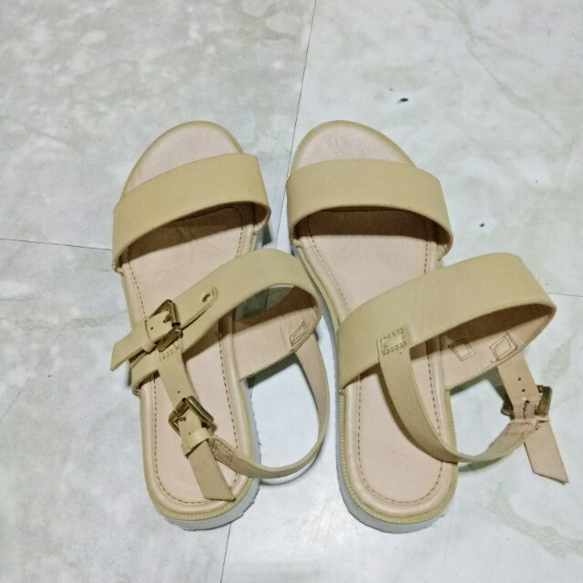 Beige and Gold Strappy Sandals
