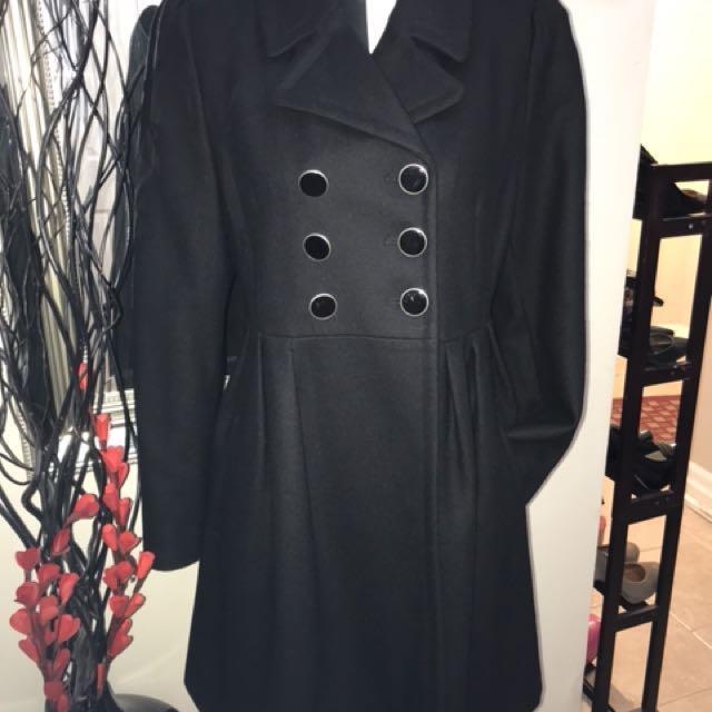 Betsey Johnson Wool Blend Babydoll Pleated Coat