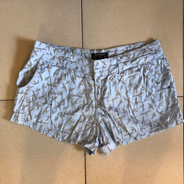 Bird pattern light blue shorts