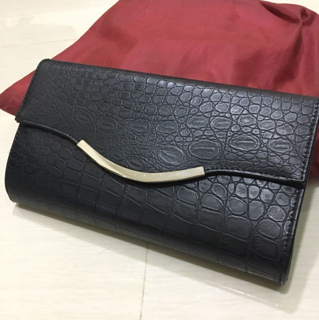 Black Leather Clutch from Korea