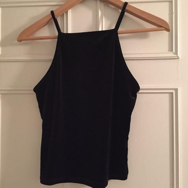 Black velvet halter top
