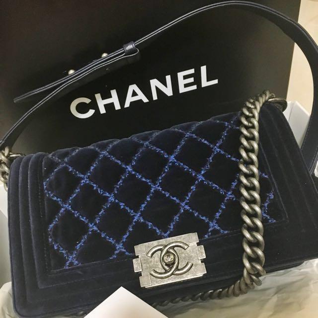 a5debbf33e50cb CHANEL BOY Quilted Velvet Flap Bag Medium Blue, Luxury, Bags ...