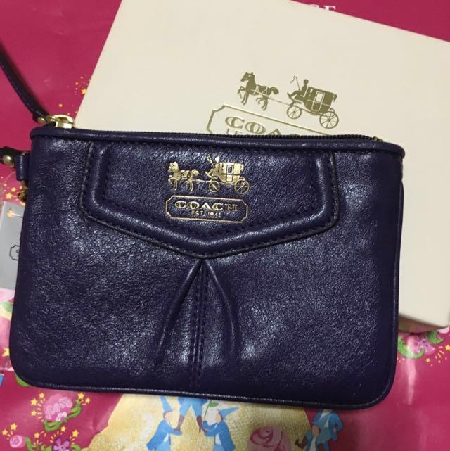 交換禮物COACH 深紫色牛皮手拿包