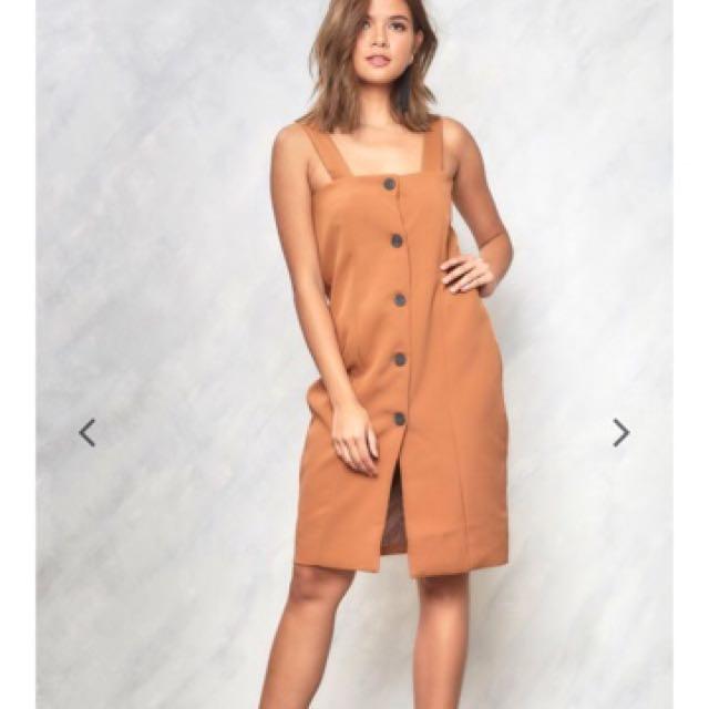 Copper Take A Chance Brown Button Down Dress