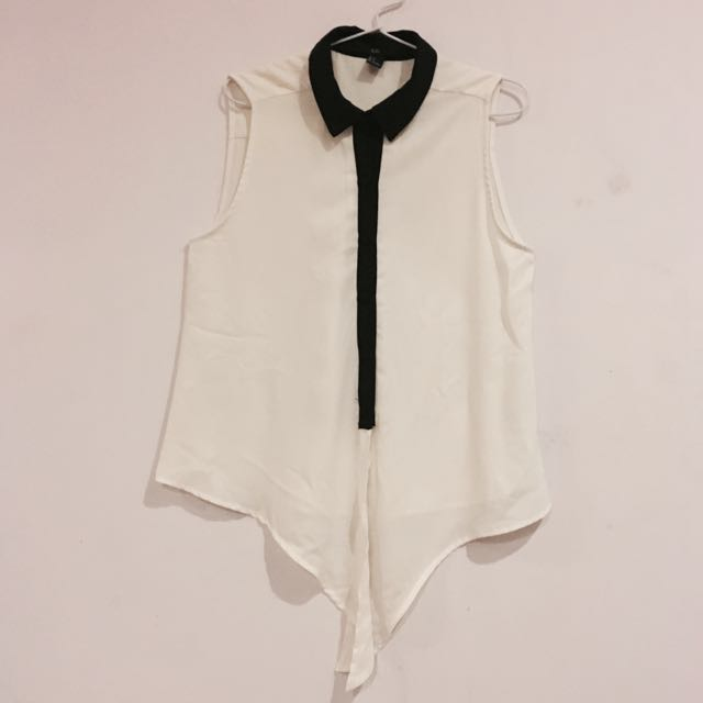 Forever21 White Front Knot Sleeveless - Size S