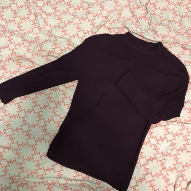 Forever 21 Ribbed Purple Mock Neck Top