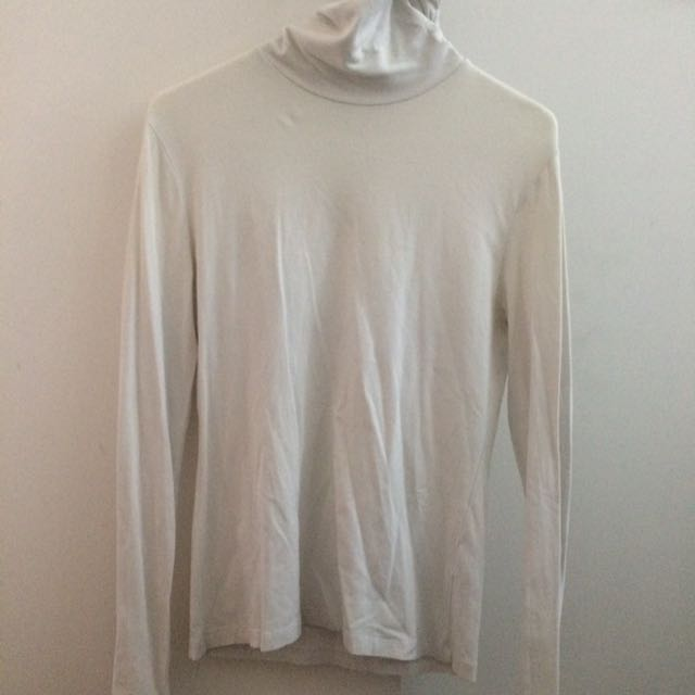 GIORDANO White turtle neck long sleeve tshirt