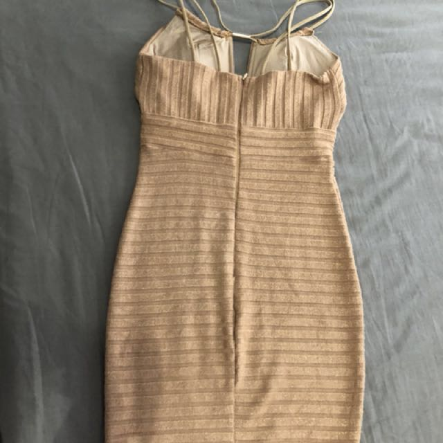 Glam Gold champage bodycon dress