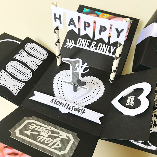Happy 1st Monthsary Explosion Box Card In Black And White Design