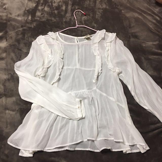H&M 滾邊雪紡白襯衫(條紋)