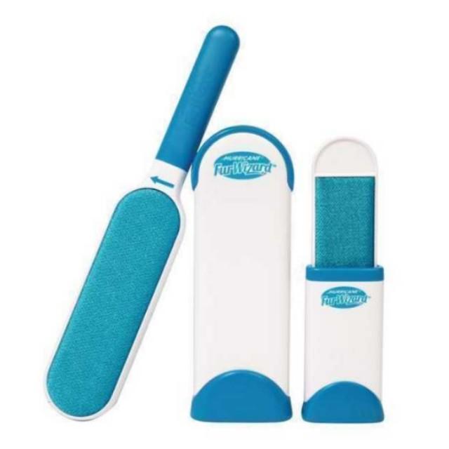 Hurricane Fur Wizard Blue Pet Hair Lint Remover Portable Magic Clean Brush