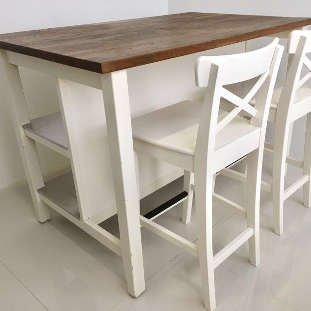 IKEA STENSTORP KITCHEN ISLAND. DINING TABLE + 2 INGOLF CHAIR, Furniture,  Tables U0026 Chairs On Carousell